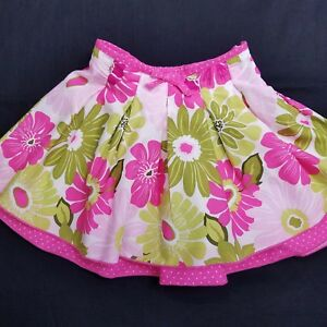 Girls Skirt Pink Floral Pleated Layered Handmade Size 4T