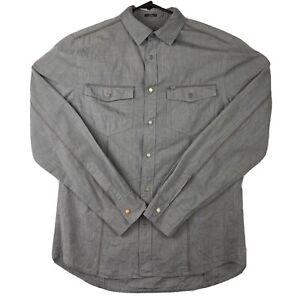 ARMANI EXCHANGE AX Men's Size Medium Grey Snap Button Long Sleeve Casual Shirt