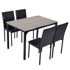 5pcs Kitchen Dining Table Set 4 Chair Home Furniture Set PU Upholstery Padded