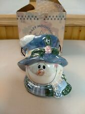 "Crazy Mountain Snowman Candle Holder Votive 3"" NEW"
