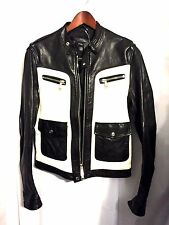 NEW DSQUARED 2 RIDERS LEATHER MOTO MOTORCYCLE RACER JACKET 50 EU 40 US SMALL