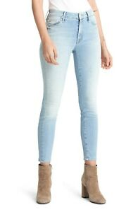 MOTHER Womens The Looker Ankle Crop Skinny Jeans When in Rome Light Blue Size 25