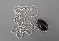 STERLING SILVER.925 Italy Oval Black Onyx Beaded Pendant w/Beaded Chain-Necklace