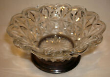 Vintage Indiana Crystal Clear Glass Monticello Sterling Silver Base Rim Bowl