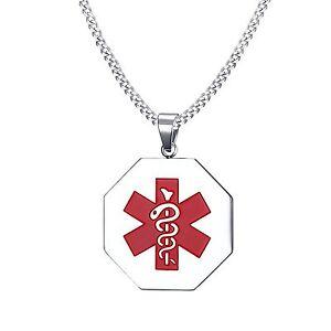 Personalised Custom Stainless Steel Pendant Medical Alert ID Tag Vincenza UK