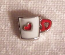 Coffee Cup w/ Red Heart Floating Locket Charm - Silver-tone - NEW