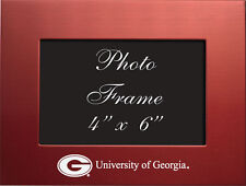 University of Georgia  - 4x6 Brushed Metal Picture Frame - Red
