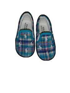 Polo Ralph Lauren Shoes Toddler size 6 Canvas Loafers Blue Plaid Slip on