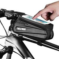 WILD MAN Waterproof MTB Bicycle Phone Bag Touch Screen Bike Front Top Tube Pouch
