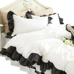 5pc Egyptian Cotton 800TC Black Edge Ruffle Duvet Cover Set White color All Size