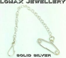 Sterling silver brooch safety chain and clip""""