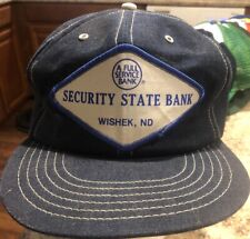 Vintage Security State Bank Denim Snapback Hat Cap Patch ND