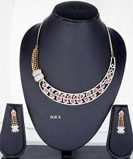 Indian Fashion American Diamond Jewelry Bridal AD Necklace Earrings Sets NJK 06