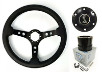 Black Steering Wheel w/ Shelby Snake Horn Button & Adapter 1965-1966 Mustang