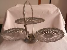 SILVER CAKE STAND VINTAGE CUP CAKE STAND HIGH TEA SILVER METAL FOLD UP GOOD COND