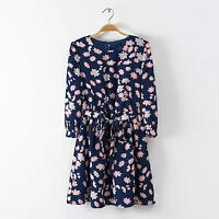 Women Long sleeve Royal blue Flower Floral beach Tunic skate Dress