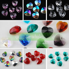10pcs 14mm Czech Crystal Glass Faceted Heart Loose Crafts Beads Pendants lot