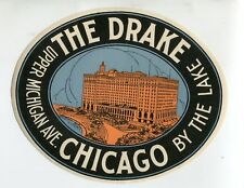 Vintage Hotel Luggage Label THE DRAKE HOTEL  Chicago Michigan Ave