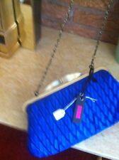 Ocean blue material-evening bag bronze chain strap & trim very cheap & stylish!!