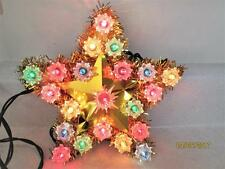 VINTAGE 8 INCH CHRISTMAS GOLD STAR WITH 21 COLORFUL LIGHTS WALL HANGING TREE TOP