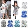 Toddler Baby Kids Girls Princess Dress Cartoon Printed Long Sleeve Dress Clothes