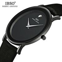 IBSO 6MM Ultra Slim Men's Quartz Watches Luxury Genuine Leather Waterproof