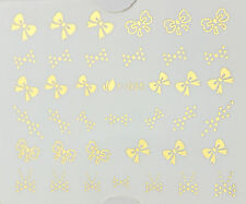 GOLD Bows Nails Water Transfer Nail Art Stickers Decals UV GEL Polish