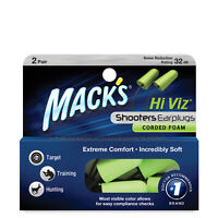 Mack's Shooters Corded Foam Earplugs, 2 Pair, Noise Blocking