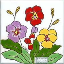 PANSIES WAll PLAQUE, TILE, TRIVET~ DIRECTLY FROM BESHEER ART TILE