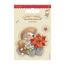 Country Companions 75 x 75mm Mini Clear Stamps - Winter Wishes - Poinsettia