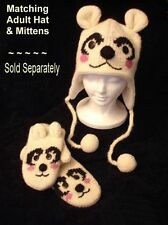 ADULT POLAR BEAR MITTENS knit FLC LINED puppet deLux gloves costume HAT SEPARATE