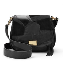 35f0e8434663 NWT Juicy Couture Black Patchwork Flap Saddle Bag Convertible XBody