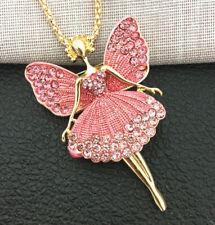 Betsey Johnson Pink Enamel Crystal Angel Ballet Dancer Pendant Necklace/Brooch