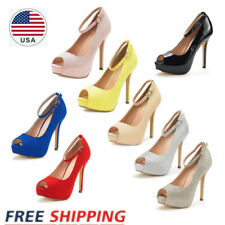 Women's Stilettos High Heel Platform Pump Shoes Ankle Strap Weddding Party Shoes