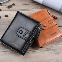 AU_ Men's Hasp Short Wallet Cash Card Holder Faux Leather Coin Purse Clutch Nove