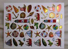 48 bunte OSTSEE-Aufkleber - Glimmeraufkleber - zur Dekoration