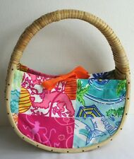 Lilly Pulitzer Small Wicker Straw Monkey Pink Blue Ribbon Print Clutch Bag