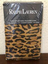Ralph Lauren Aragon Leopard Two Standard Pillowcases Medieval NIP