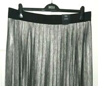 Ladies Maxi Skirt M&S Grey Metallic Pleated Pull On 24 BNWT Marks Curve Women