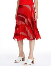 BNWT M&S Collection Red Abstract Print Pleated A Line Skirt Size 12