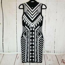 Derek Heart Sweater Dress Women's Sz M Bodycon White Black Sleeveless Stretch