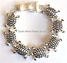 "Silver Sea Life Turtle Charm Bracelet 7.5"" Beach Island Nautical Magnet Plated"