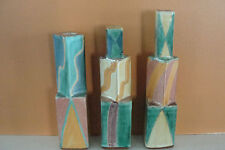 5 Vintage 1986 Sara Post Studio Art Pottery Candle Sticks