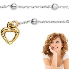 Frauen Fußkettchen mit silbernen Kugeln Echt Silber 925 Fußkette mit Gold Herz