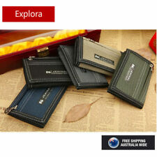 BOYS TEENAGE TRI-FOLD CANVAS WALLET with Front Zipper Coin Section