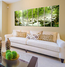 Forest stream lake print on canvas, 8 panel print, rainforest wall art decor