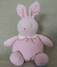 Doudou/peluche Lapin/Rabbit Rayé rose et blanc Klorane