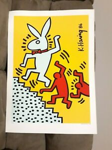 """KEITH HARING PLAYBOY - SPECIAL EDITION 1990  """"BUNNY ON THE RUN"""""""