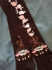NEW over knee thigh high Gothic Lolita socks black pink sax roses chandeliers
