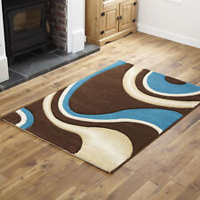 Hand Carved Rugs Modern Small 12mm Thick 60 X 120 Cm Brown Teal High Quality Rug